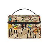 ALARGE - Bolsa de maquillaje con diseño tribal africano para mujer, bolsa de cosméticos grande, bolsa de aseo portátil para viaje, organizador para mujeres y niñas