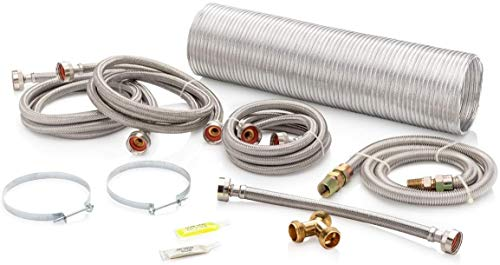 Superior Brands Washer and Gas Steam Dryer Laundry Install Kit with Gas Hose, Y Adapter, Fill Hoses, Vent and Vent Clamps