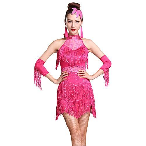 LONMEI Vestidos Sexy de Moda para Mujer - Vestido Sin Mangas con Flecos de Encaje Salón de Baile Latino Rumba Vestidos de Fiesta para Mujeres