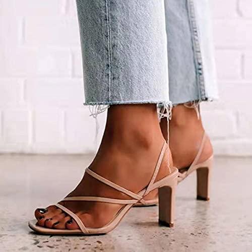 TER Sandali concisi Estivi 2021 per Le Donne per Il Tempo Libero Sandali con Tacco Alto e Punta Quadrata nuovissime Scarpe da Donna alla Moda