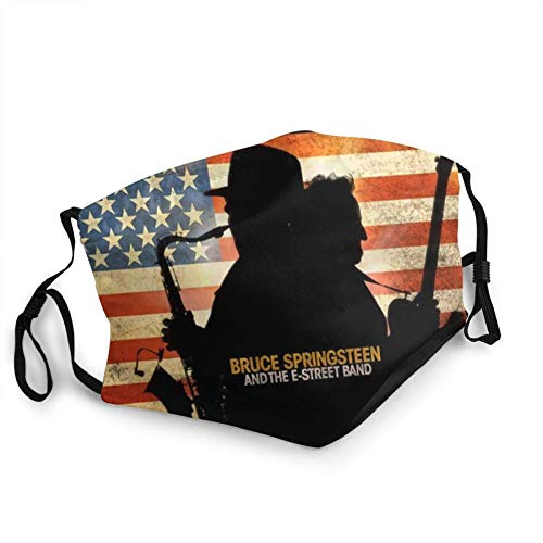 PEIFIN Unisex face mask Balaclava Bruce-Springsteen Face Mask Bandana Adjustable Earloop Mouth Face Cover face maskfor Adult with 2 Filter-made in usa