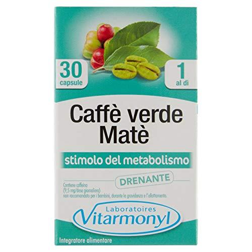 CAFFÈ VERDE MATÈ Vitarmonyl  Integratore 30 capsule  Stimolo del Metabolismo, Drenante  Registrato Ministero Salute Italiano