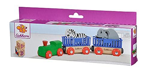 Eichhorn 195020 100001351 - Tierzug, 5-tlg., Lok mit 2 Wagons und 2 Tieren: Zebra/ Elefant, 24cm, FSC 100% Zertifiziertes Buchenholz - verbaubar mit fast allen Schienenbahnsystemen