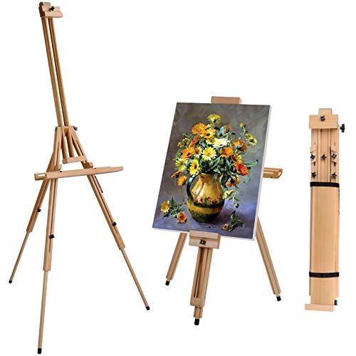 T-SIGN Portable Painting Easel Stand, Wood Art Floor Tripod Beech Easel,...