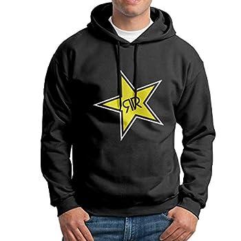 N/D Rockstar-Energy-Drink Men s Heavy Blend Fleece Hooded Sweatshirt Black