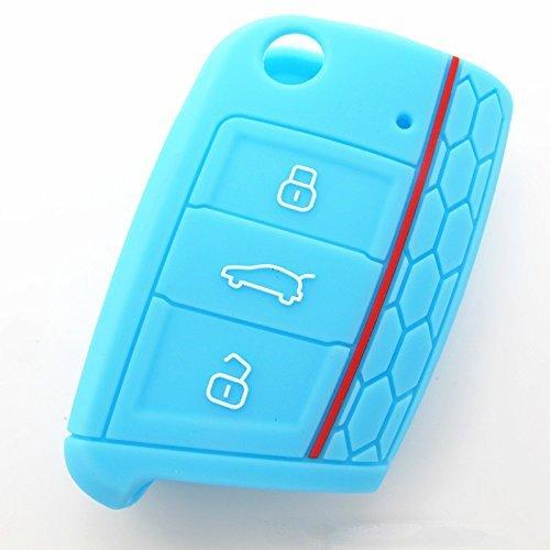 Muchkey® 3 Tasten Smart Remote Shell Silikon Auto Schlüssel Hülle Fit für VW Volkswagen Golf 7 GTI Golf VII MK7 Skoda Octavia A7 1 Stück (Blau)