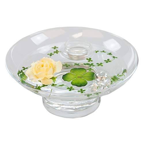 Glass Bowl Hollow H ,10 CM; diameter: 25 CM, includes decorative Rose Yellow Large) by Glaskönig® Komplett Angebote