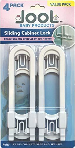 Child Safety Sliding Cabinet Locks (4 Pack) - Baby Proof Knobs, Handles, Doors - U Shape Sliding Safety Latch Lock - Jool Baby