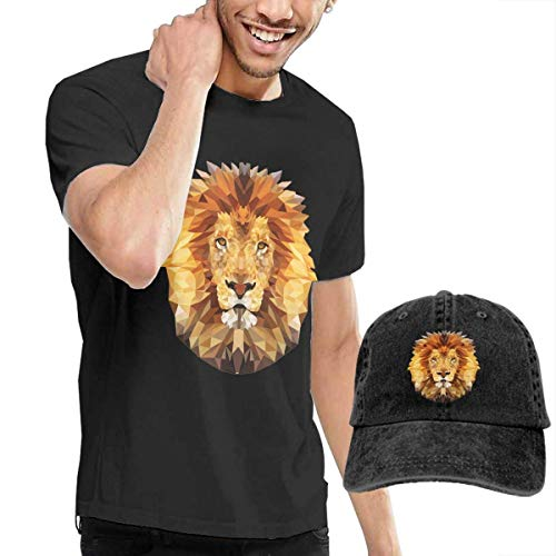 Baostic Camicie e T-Shirt Sportive Top e Bluse, Edgy Lion Men's Classic Short Sleeve Crew Neck T-Shirt + Hat Combo