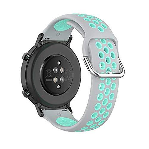 Bemodst - Cinturino universale da 20 mm, in silicone, con fori d'aria a doppio colore, regolabile, larghezza 20 mm, per Garmin Vivoactive 3/Vivomove HR (grigio/ottano)