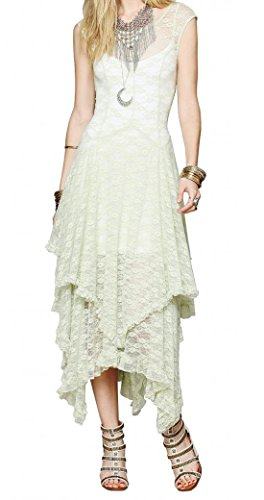 R.Vivimos Womens Sleeveless Backless Asymmetrical Layered Lace Long Dress with Slip Two Pieces (XL, Mint Green)