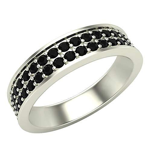 Alianza de boda de diamantes para hombre 0,75 quilates de dos hileras a medio camino de oro blanco de 14 quilates para hombre de 5 mm (tamaño del anillo 11,5)