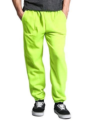 Victorious Men's Elastic Cuff Fleece Sweatpants - HILLSP - Neon Green - 3X-Large