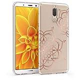 kwmobile Hülle kompatibel mit Huawei Mate 10 Lite - Hülle Handy - Handyhülle - Blumen Zwillinge Rosegold Transparent
