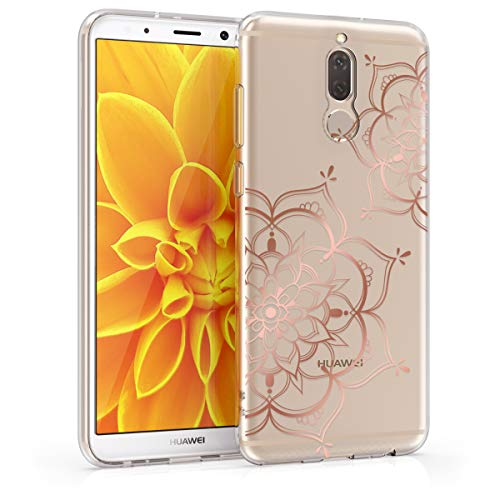 kwmobile Cover Compatibile con Huawei Mate 10 Lite - Custodia in Silicone TPU - Backcover Protettiva Cellulare Fiori Gemelli Oro Rosa/Trasparente