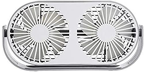 Ventilador de escritorio doble con flujo de aire fuerte Operación silenciosa Ventilador portátil Mini USB Circulador de aire 3 velocidades de enfriamiento Cabezal ajustable Ventilador de aromaterapia