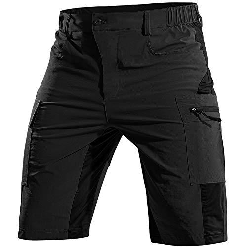 Cycorld Men's-Mountain-Bike-Shorts MTB-Shorts-for-Men Quick Dry Lightweight with Pockets Cycling Riding Biking Baggy Shorts(Black, Large)
