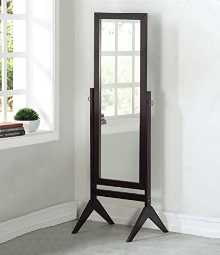 Legacy Decor Espresso Finish Wood Rectangular Cheval Floor Mirror, Free Standing Mirror