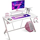 """Gaming Desk 40"""" with Monitor Shelf Gaming Table Home Computer Desk with Cup Holder and Headphone Hook Gamer Workstation Game Table, White"""