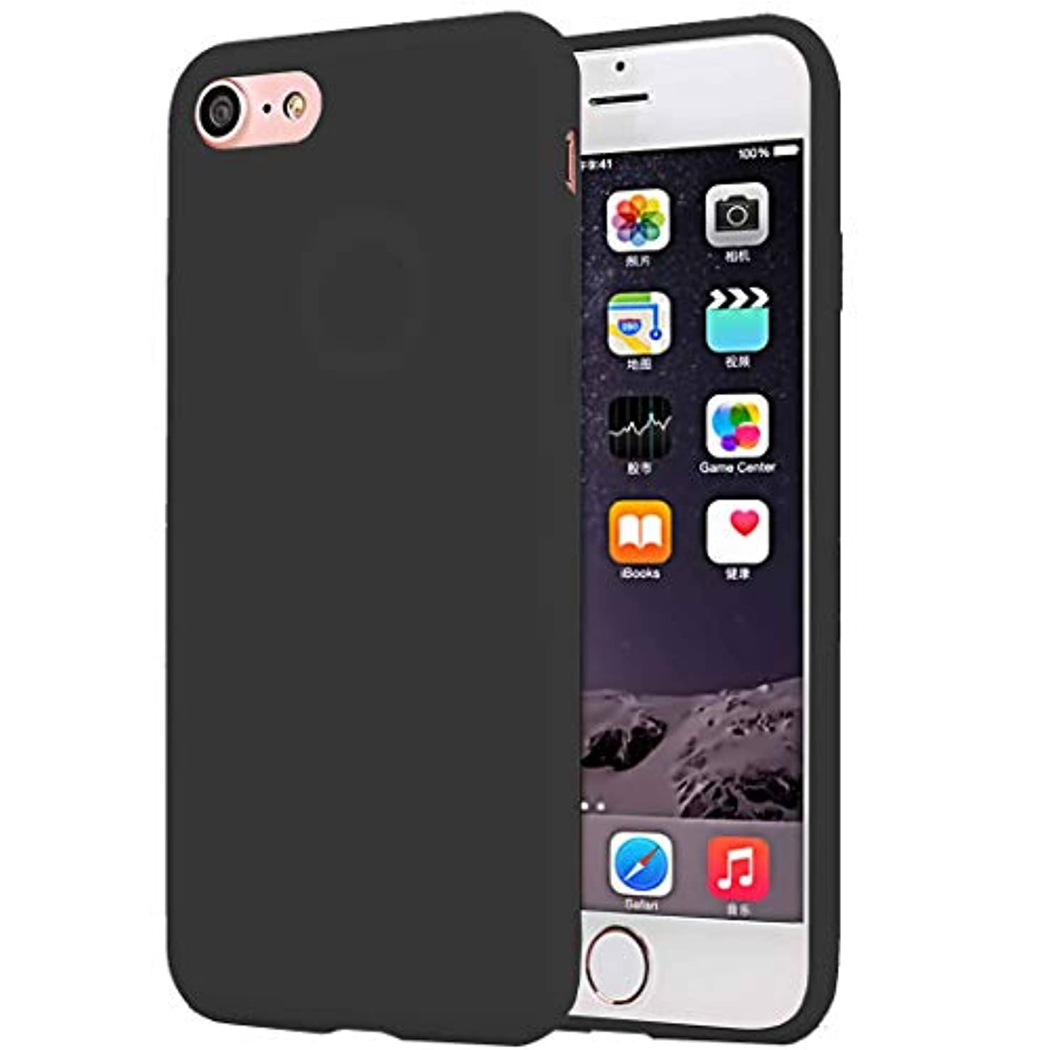 CaseHQ Compatible with iPhone 6S Case, iPhone 6 Case, Minimalist Ultra Thin Slim Fit Silicone Gel Rubber Case,Shock Absorption Anti Scratch Finish Cover TPU Cases - Black