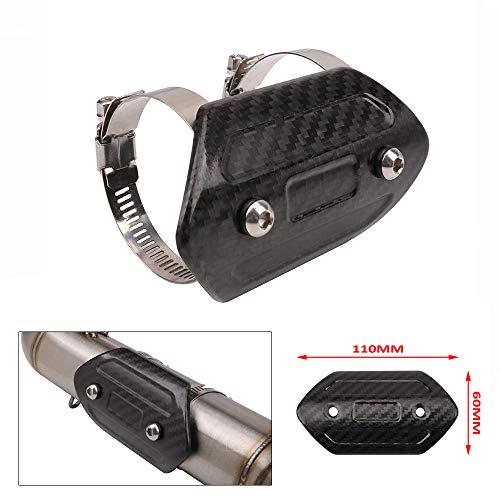 JFG RACING Protector de Escape de Fibra de Carbono para Motocicleta, Protector de Tubo de Escape Universal para Yamaha Harley Suzuki Honda Kawasaki Street Bike (tamaño: 110 x 60 mm)