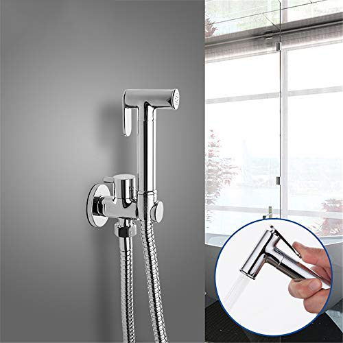 HNBMC Bidet Wasserhähne Massiv Messing Single Kaltwasser Eckventil Bidet Funktion Zylindrische Handbrause Zapfkran 90 Grad Schalter