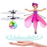 Balle Volante RC Flying Ball Ballon Volant, Volant Fée Poupée pour Les Filles Induction Infrarouge Helicoptere Drone Avion avec LED Lumière et Télécommande Fonction Extérieur Intérieur Jeux - 2 Pack