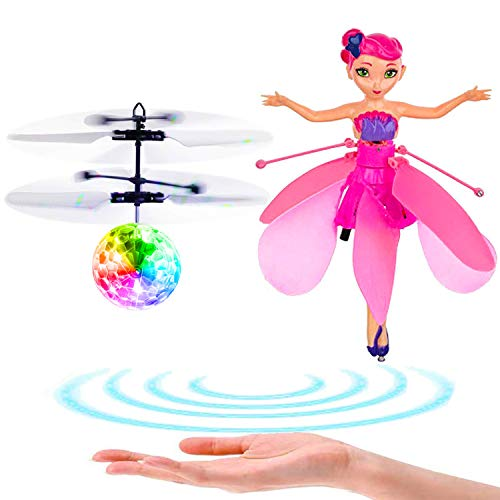 Flying Ball Toys Flying Fairy Doll Rechargeable Light Up Ball Drone Infrared Induction Helicopter with Remote Controller Child Toy Flying Princess Doll Flying Fairy Toys for Boys Girls Gifts