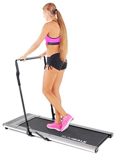 Miweba Sports Laufband SlimWalk S200 - intelligenter Startmodus - ultraflaches Design - große Lauffläche - klappbar - Flach (Silbergrau)