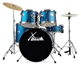 XDrum Semi 22' Standard Schlagzeug Satin Blue Sparkle - 22' BD, 14' x 5' SD, 12' + 13' TT, 16' FT - inkl. Schule + DVD - Blau