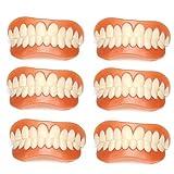 HYGLPXD Dientes Cosméticos Dentaduras Postizas Inferiores y Superiores Carillas Dentales, Diente Falso Superior Inferior Cobertura de Aparato,6pieces