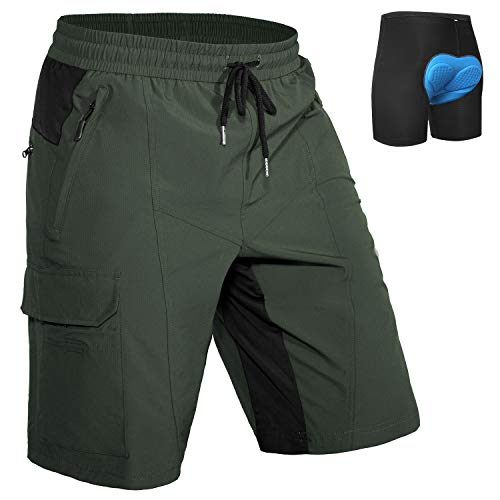 Hiauspor Mens Mountain-Bike-Shorts MTB with Padding Loose-fit (Green, L)