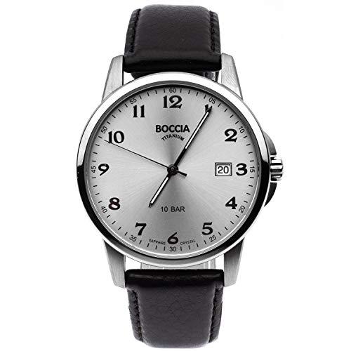 Boccia Herren Analog Quarz Uhr mit Leder Armband 3633-03