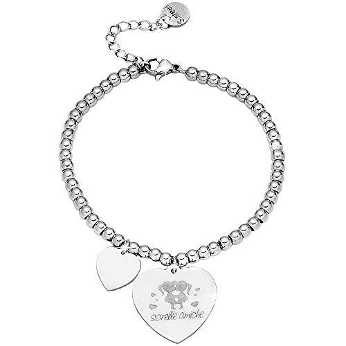 Beloved Bracciale da donna, braccialetto in acciaio emozionale - frasi, pensieri, parole con charms - ciondolo pendente - misura regolabile - incisione - argento - tema famiglia (MF14)