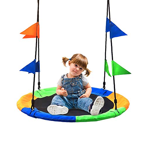 Take Me Away Saucer Tree Swing Seat with Straps and Flags Giant 40 Inches Saucer Swing Outdoor Play for Kids
