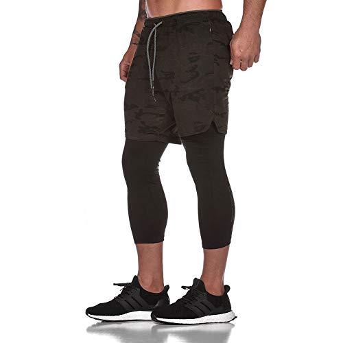LBL Workout-Laufshorts, 2-in-1-Laufhose oder Trainingshose mit 3/4-Leggings, doppelschichtig, schnelltrocknend, atmungsaktiv, DK105-11, DK105-11