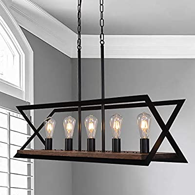 ANTILISHA Farmhouse Industrial Chandelier Lighting Rectangle Geometric Light Fixture Pendant Chandelier for Dining Rooms Kitchen Island Pool Room Wooden Metal Iron Matt Black L35.8 inch