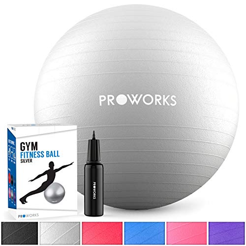Proworks Small Exercise Ball, Gym Ball 65cm Anti-Burst with Pump, Swiss Ball for Yoga, Pilates, Pregnancy & Fitness - Silver