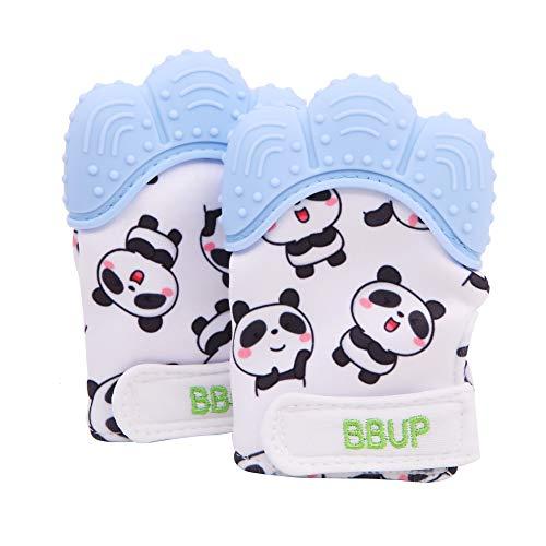 Paquet de 2 gants de dentition en silicone de qualité alimentaire, mitaine de dentition pour bébés, jouets de dentition pour bébé… (Bleu)