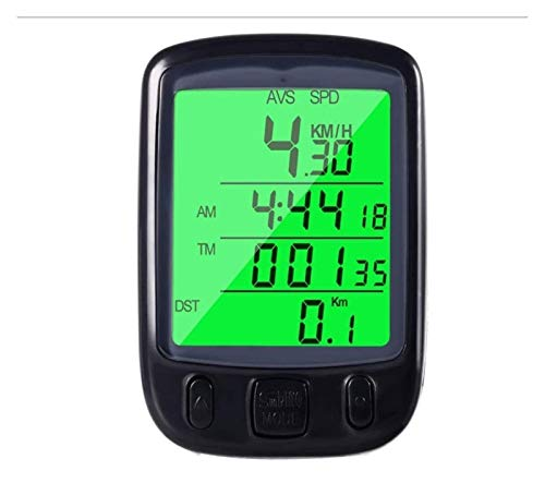 X-LSWAB Cycle Bicycle Bike LCD Computer Odometer Speedometer with Backlight Monitor Bikes' Speed Distance and RidingTime for Mountain Bike Outdoor (Color:Green) (Color : Black)