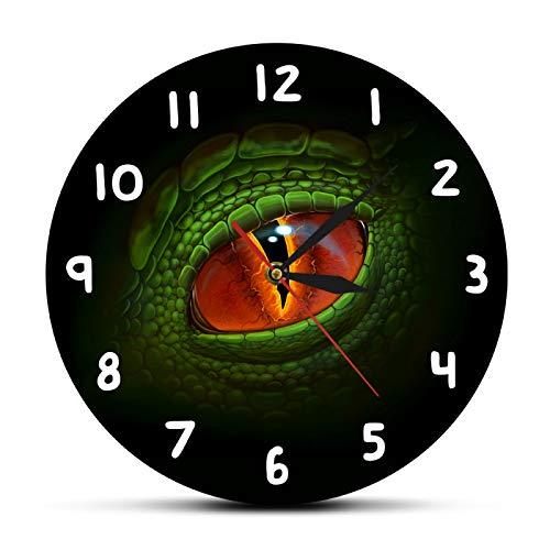 yage Reloj de Pared gótico de fantasía de Ojo de dragón de Dinosaurio Verde, Reloj de Pared Moderno de Ojo de Dinosaurio de Reptil