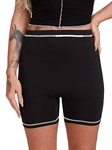 Floerns Women's High Waist Workout Yoga Running Biker Shorts Black L