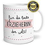 OWLBOOK Beste Erzieherin Große Kaffee-Tasse mit Spruch im Geschenkkarton Geschenke Geschenkidee für Erzieher-in Abschied Geburtstag