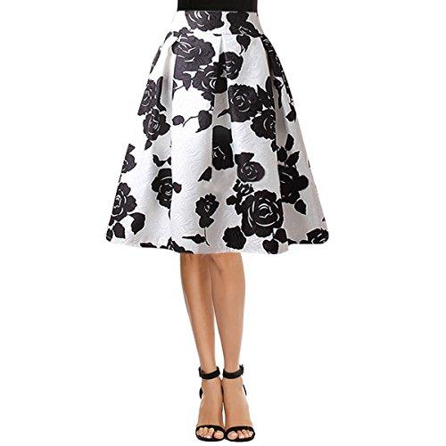 Milya Damen Rockabilly 1950er-Jahre Swing Tellerrock Faltenröcke Hohe Taillen Weiß Schwarze Rosen XL