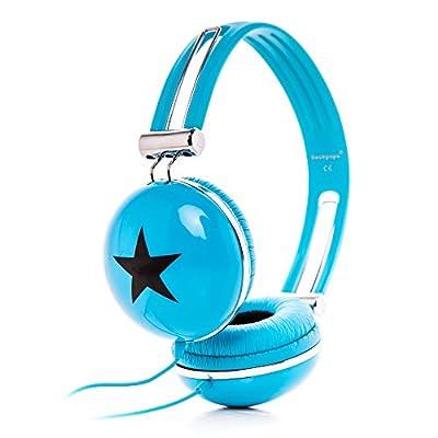 RockPapa Adjustable Stereo Star Kids Headphones Earphones, Over Ear, Headphone for Girls Boys Teens Childs Adults, Soft Earpad, Deep Bass for MP3 MP4 DVD iPod iPad iPhone Tablets Laptop TV Blue