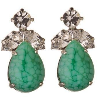 Cristal de Swarovski hoja pendiente en verde - pendientes de hoja de cristal de Swarovski en verde / gema de cristal Swarovski gota pendientes