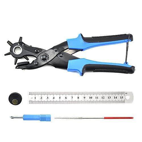 BIGP Sacabocados para Cinturones y Cuero, Agujero Perforadora Punzón de Cinturón, Herramienta de Alicate para Trabajo Pesado Múltiple Tamaño para Tarjeta, Goma, (Azul)