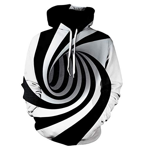 Sweat à Capuche Adulte,Covermason Homme Casual Sweats à Capuche Pull à Manches Longues Sweat-Shirts Hiver 3D Digital Vortex Imprimé Hoodie Hauts Veste avec Poche (Large, Noir)