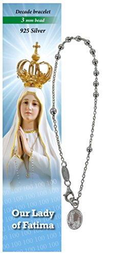 Pulsera Rosario Virgen de Fátima de plata con 11 cuentas de 3 mm - en inglés