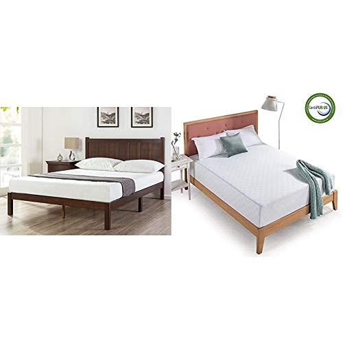 Zinus Adrian Wood Rustic Style Platform Bed with Headboard/No Box Spring Needed/Wood Slat Support, Queen & 12 Inch Gel-Infused Green Tea Memory Foam Mattress, Queen